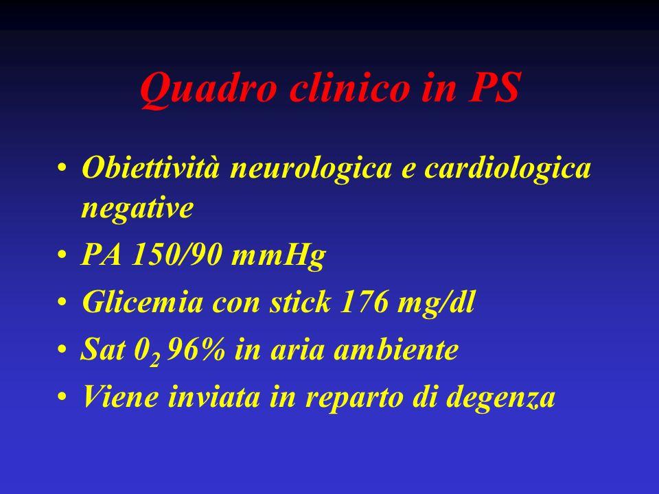Quadro clinico in PS Obiettività neurologica e cardiologica negative