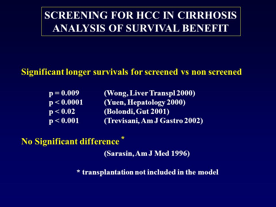 SCREENING FOR HCC IN CIRRHOSIS ANALYSIS OF SURVIVAL BENEFIT