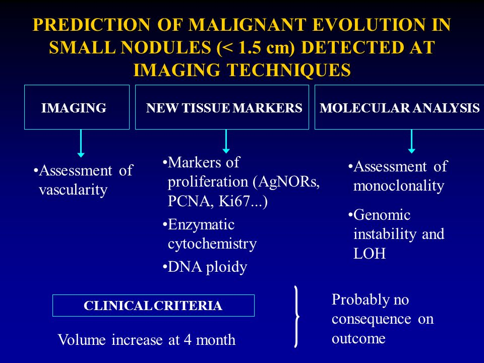 PREDICTION OF MALIGNANT EVOLUTION IN SMALL NODULES (< 1