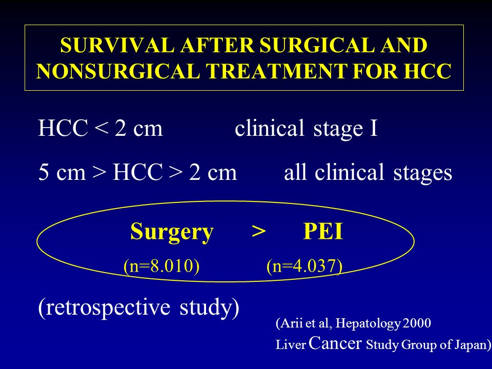SURVIVAL AFTER SURGICAL AND NONSURGICAL TREATMENT FOR HCC