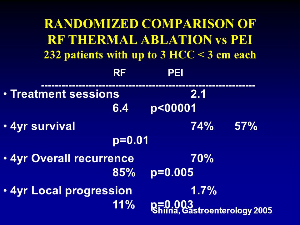 RANDOMIZED COMPARISON OF RF THERMAL ABLATION vs PEI 232 patients with up to 3 HCC < 3 cm each