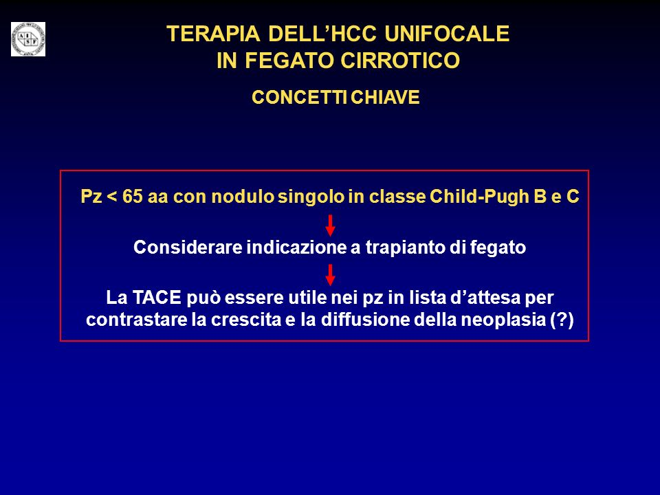 TERAPIA DELL'HCC UNIFOCALE IN FEGATO CIRROTICO