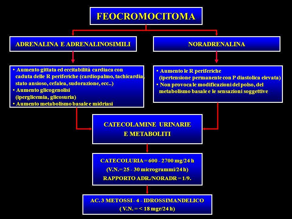 FEOCROMOCITOMA ADRENALINA E ADRENALINOSIMILI NORADRENALINA