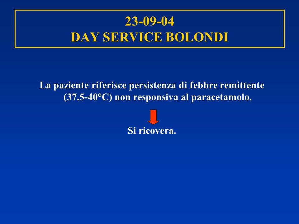 23-09-04 DAY SERVICE BOLONDILa paziente riferisce persistenza di febbre remittente (37.5-40°C) non responsiva al paracetamolo.