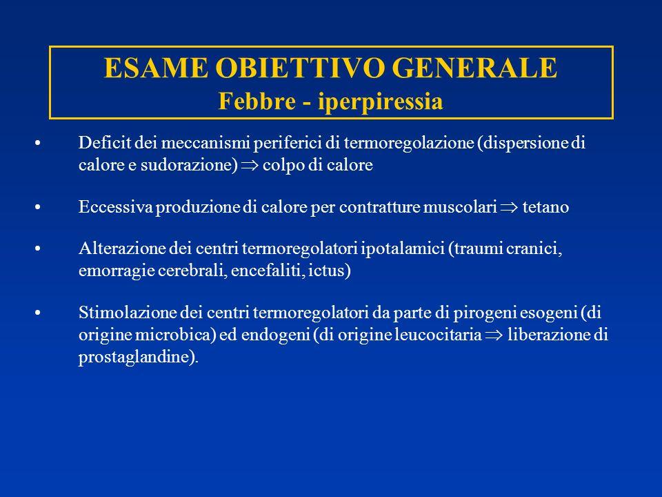 ESAME OBIETTIVO GENERALE Febbre - iperpiressia