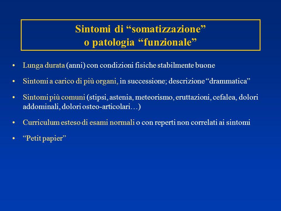 Sintomi di somatizzazione o patologia funzionale