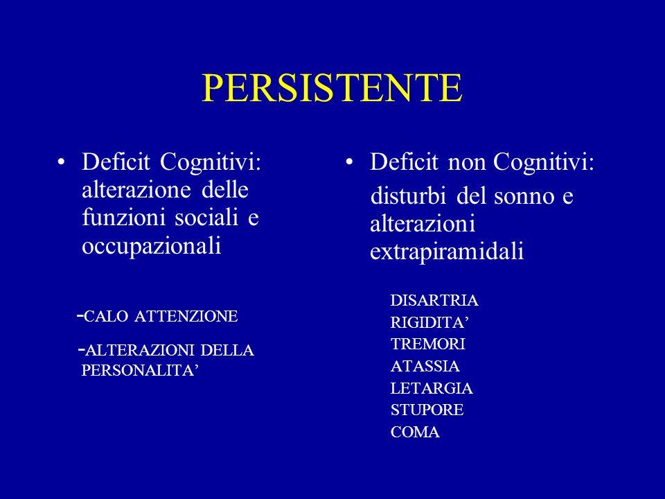 PERSISTENTE Deficit Cognitivi: alterazione delle funzioni sociali e occupazionali. -CALO ATTENZIONE.