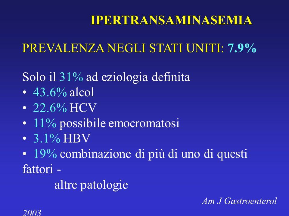 IPERTRANSAMINASEMIA PREVALENZA NEGLI STATI UNITI: 7.9% Solo il 31% ad eziologia definita. 43.6% alcol.