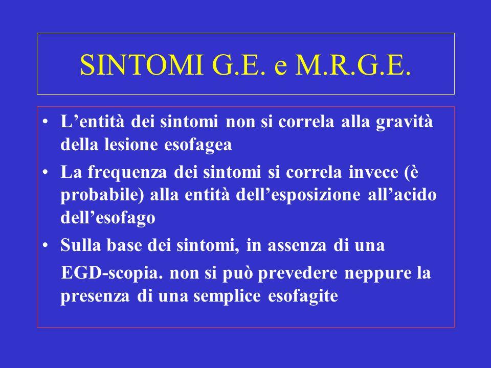 SINTOMI G.E. e M.R.G.E. L'entità dei sintomi non si correla alla gravità della lesione esofagea.