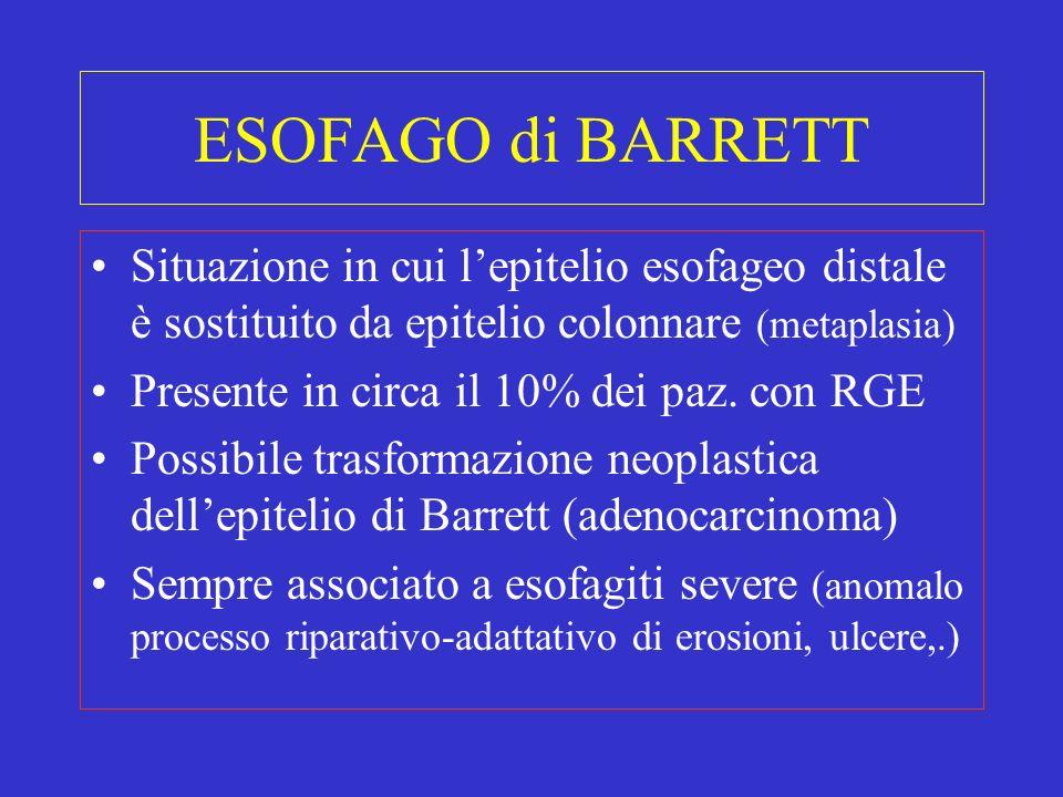 ESOFAGO di BARRETT Situazione in cui l'epitelio esofageo distale è sostituito da epitelio colonnare (metaplasia)