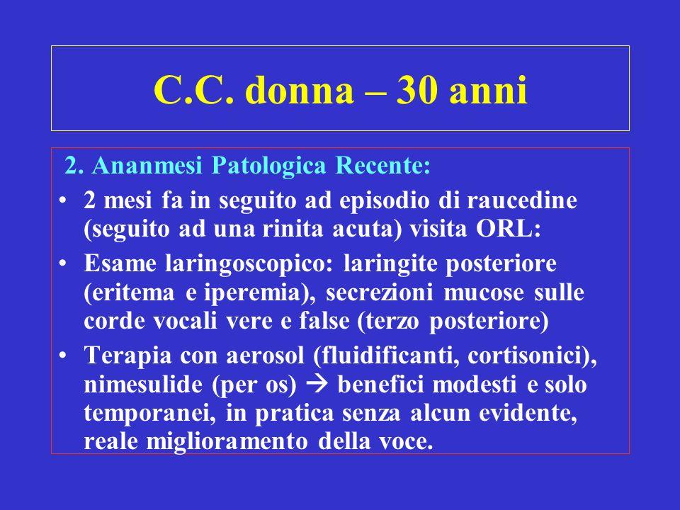 C.C. donna – 30 anni 2. Ananmesi Patologica Recente:
