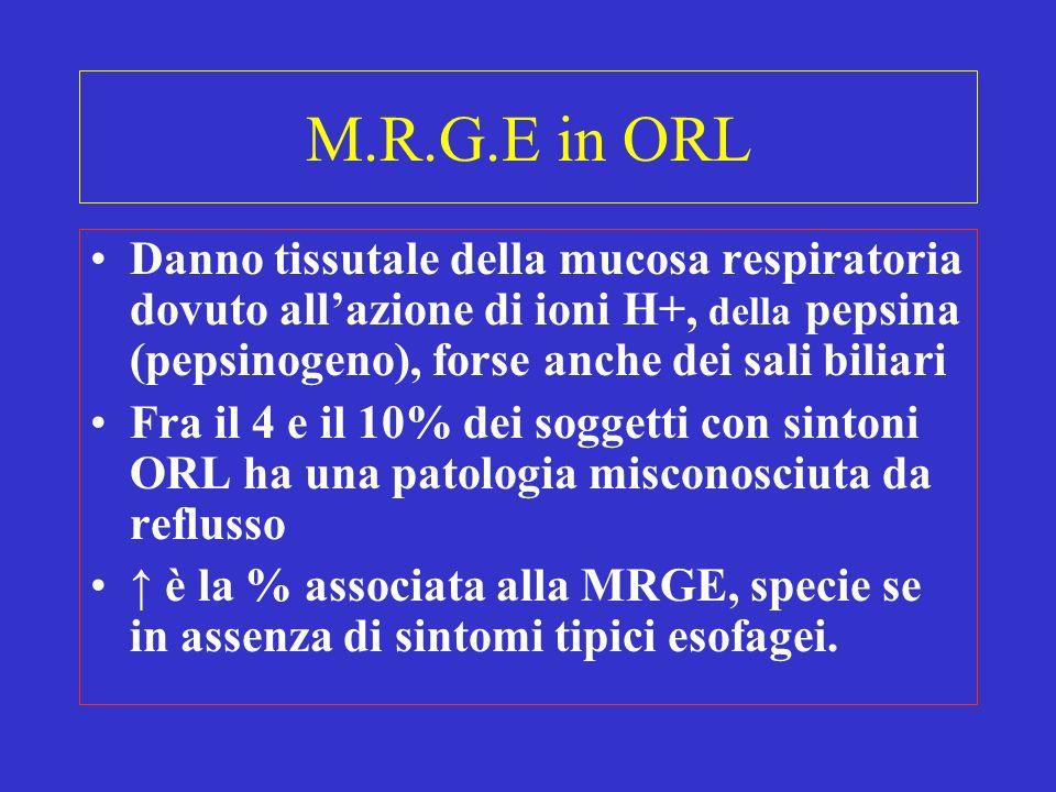 M.R.G.E in ORL Danno tissutale della mucosa respiratoria dovuto all'azione di ioni H+, della pepsina (pepsinogeno), forse anche dei sali biliari.