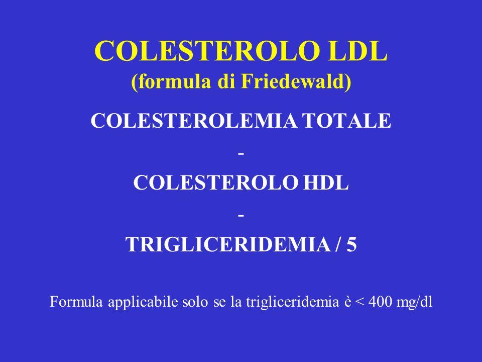 COLESTEROLO LDL (formula di Friedewald)