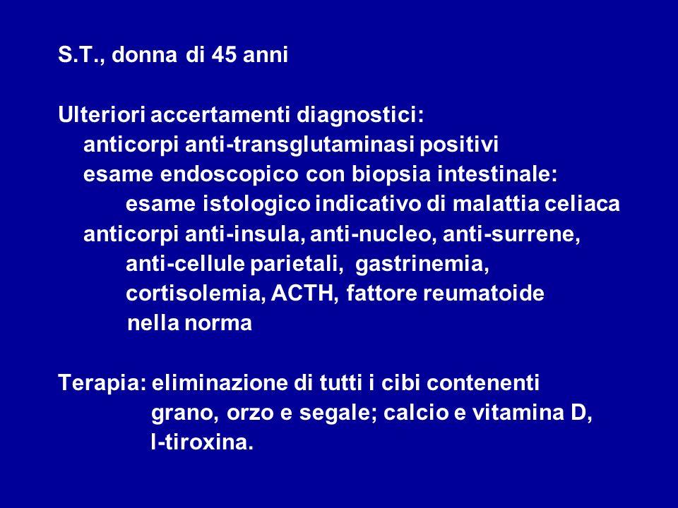 S.T., donna di 45 anni Ulteriori accertamenti diagnostici: anticorpi anti-transglutaminasi positivi.