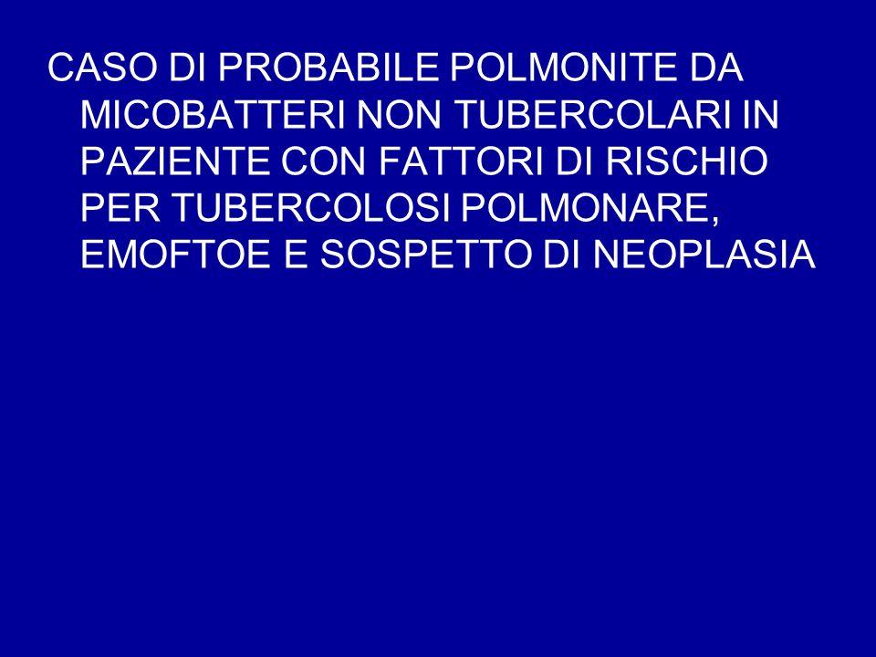 CASO DI PROBABILE POLMONITE DA MICOBATTERI NON TUBERCOLARI IN PAZIENTE CON FATTORI DI RISCHIO PER TUBERCOLOSI POLMONARE, EMOFTOE E SOSPETTO DI NEOPLASIA