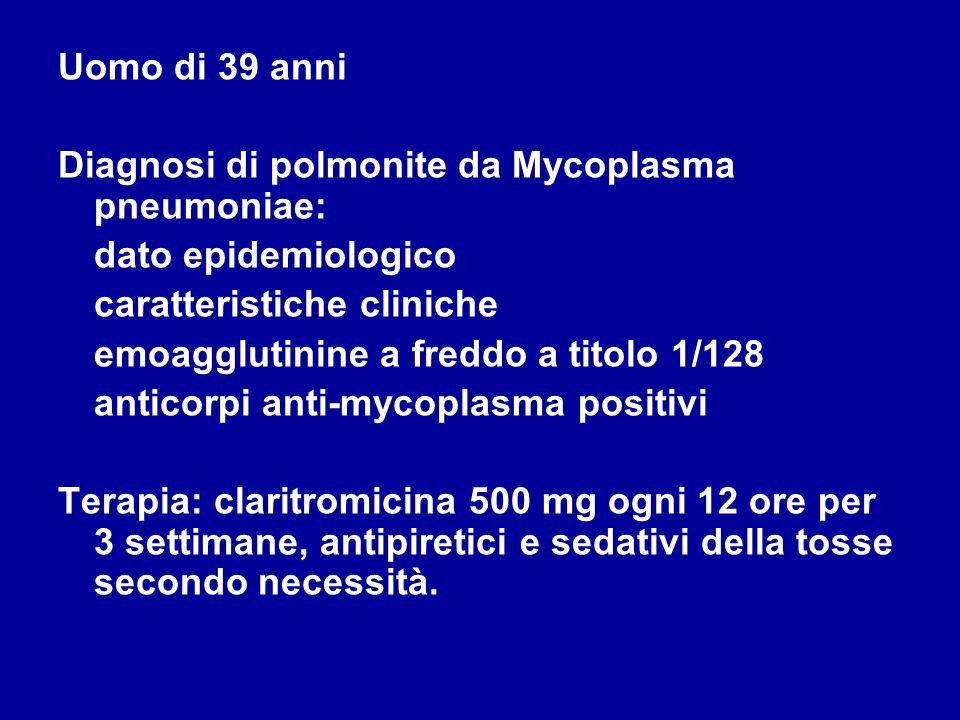 Uomo di 39 anni Diagnosi di polmonite da Mycoplasma pneumoniae: dato epidemiologico. caratteristiche cliniche.