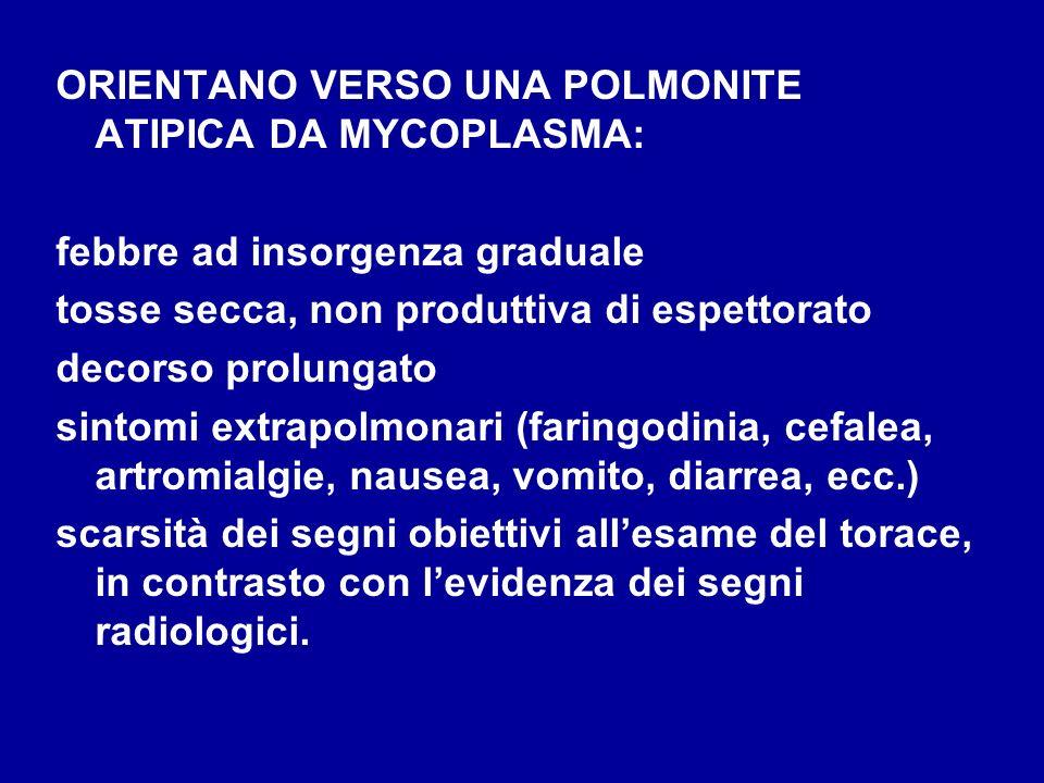 ORIENTANO VERSO UNA POLMONITE ATIPICA DA MYCOPLASMA:
