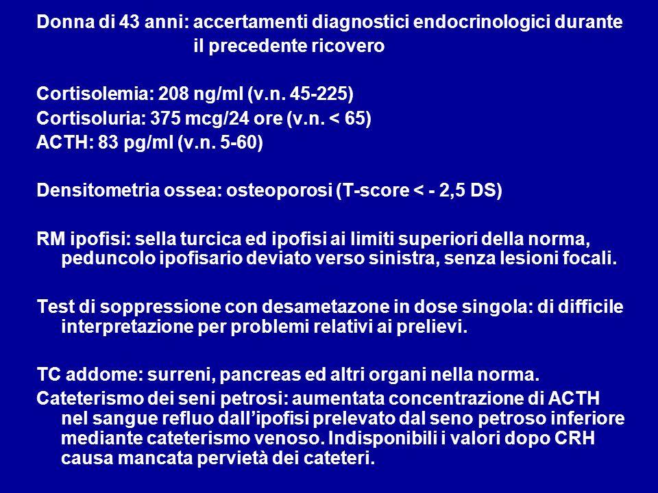 Donna di 43 anni: accertamenti diagnostici endocrinologici durante