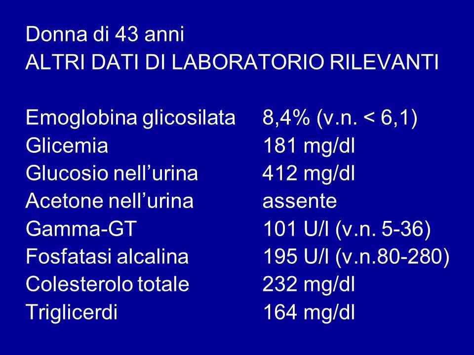 Donna di 43 anni ALTRI DATI DI LABORATORIO RILEVANTI. Emoglobina glicosilata 8,4% (v.n. < 6,1) Glicemia 181 mg/dl.