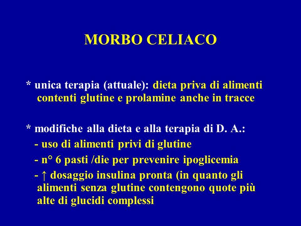 MORBO CELIACO * unica terapia (attuale): dieta priva di alimenti contenti glutine e prolamine anche in tracce.