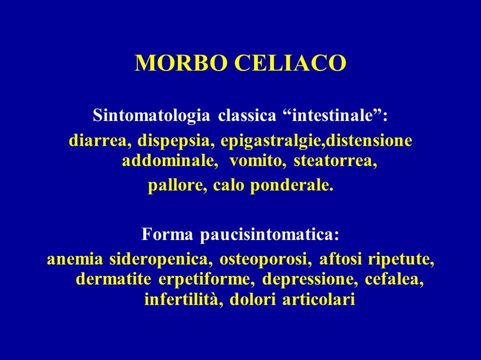 MORBO CELIACO Sintomatologia classica intestinale :