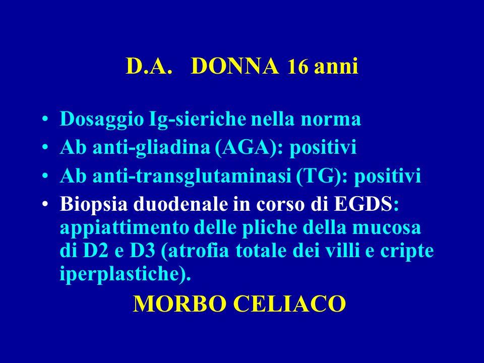 D.A. DONNA 16 anni Dosaggio Ig-sieriche nella norma
