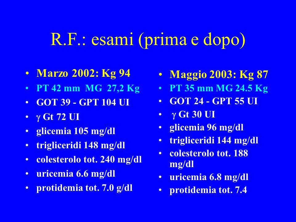 R.F.: esami (prima e dopo)