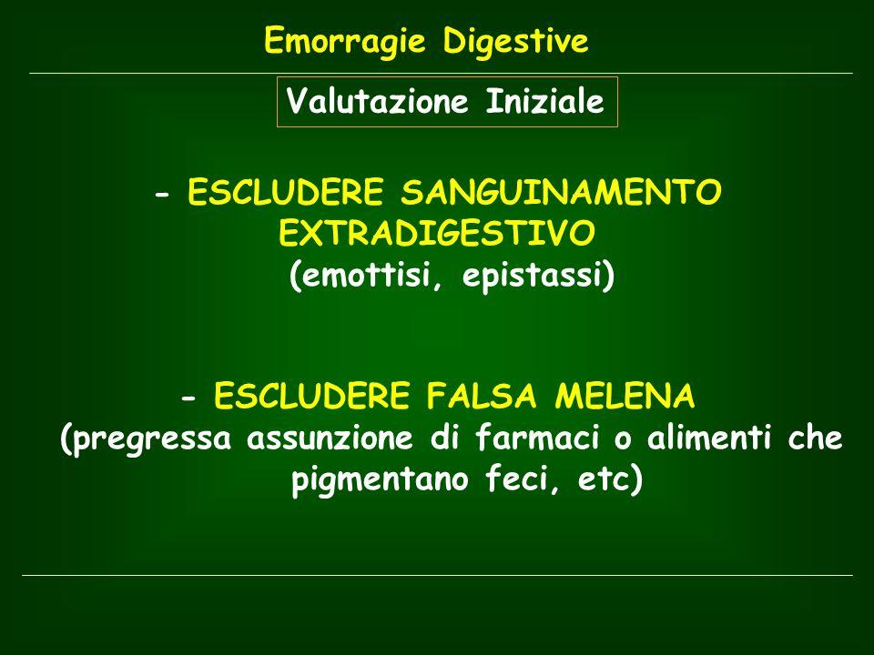 - ESCLUDERE SANGUINAMENTO EXTRADIGESTIVO (emottisi, epistassi)