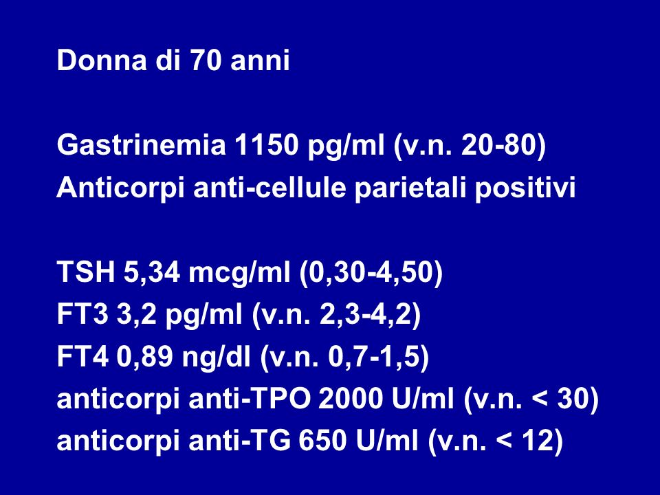 Donna di 70 anni Gastrinemia 1150 pg/ml (v.n. 20-80) Anticorpi anti-cellule parietali positivi. TSH 5,34 mcg/ml (0,30-4,50)