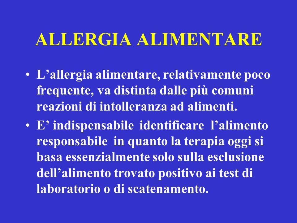 ALLERGIA ALIMENTARE L'allergia alimentare, relativamente poco frequente, va distinta dalle più comuni reazioni di intolleranza ad alimenti.