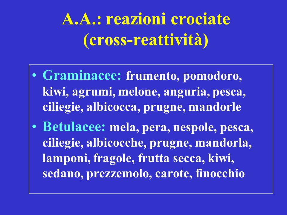 A.A.: reazioni crociate (cross-reattività)