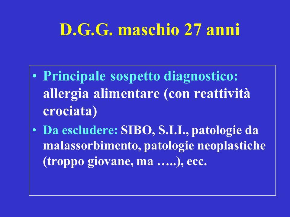 D.G.G. maschio 27 anni Principale sospetto diagnostico: allergia alimentare (con reattività crociata)