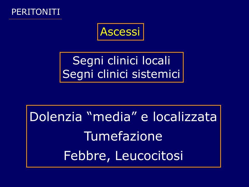 Dolenzia media e localizzata Tumefazione Febbre, Leucocitosi