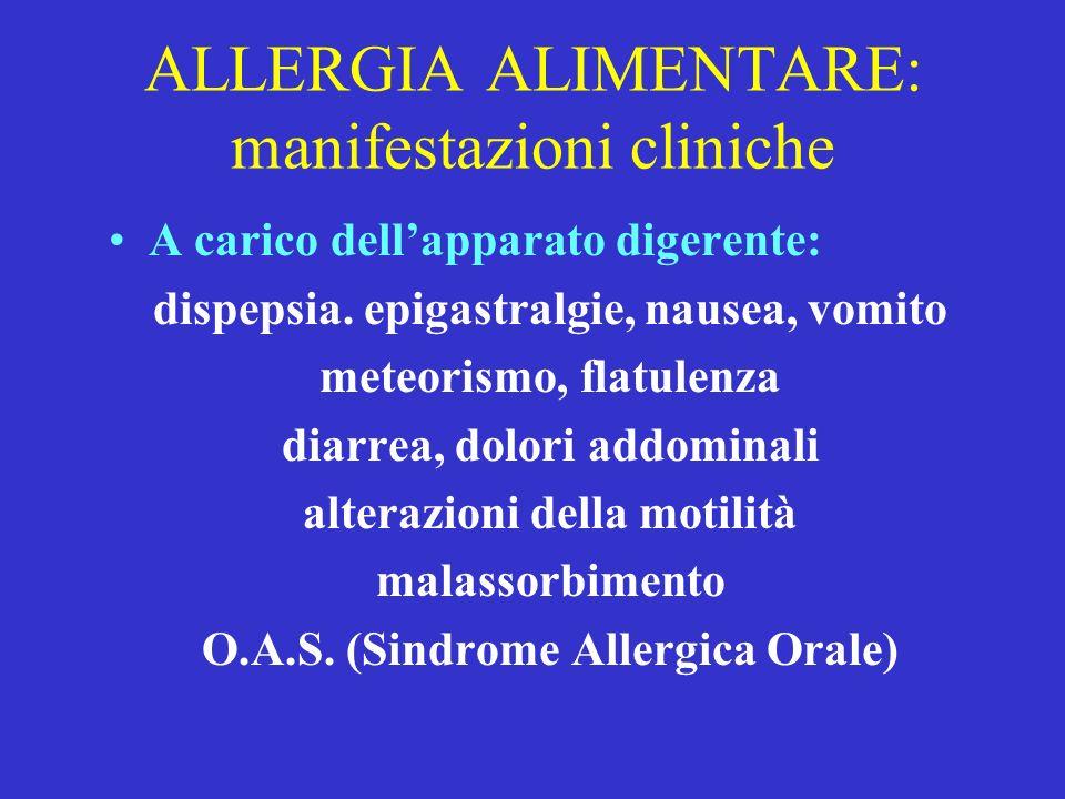 ALLERGIA ALIMENTARE: manifestazioni cliniche