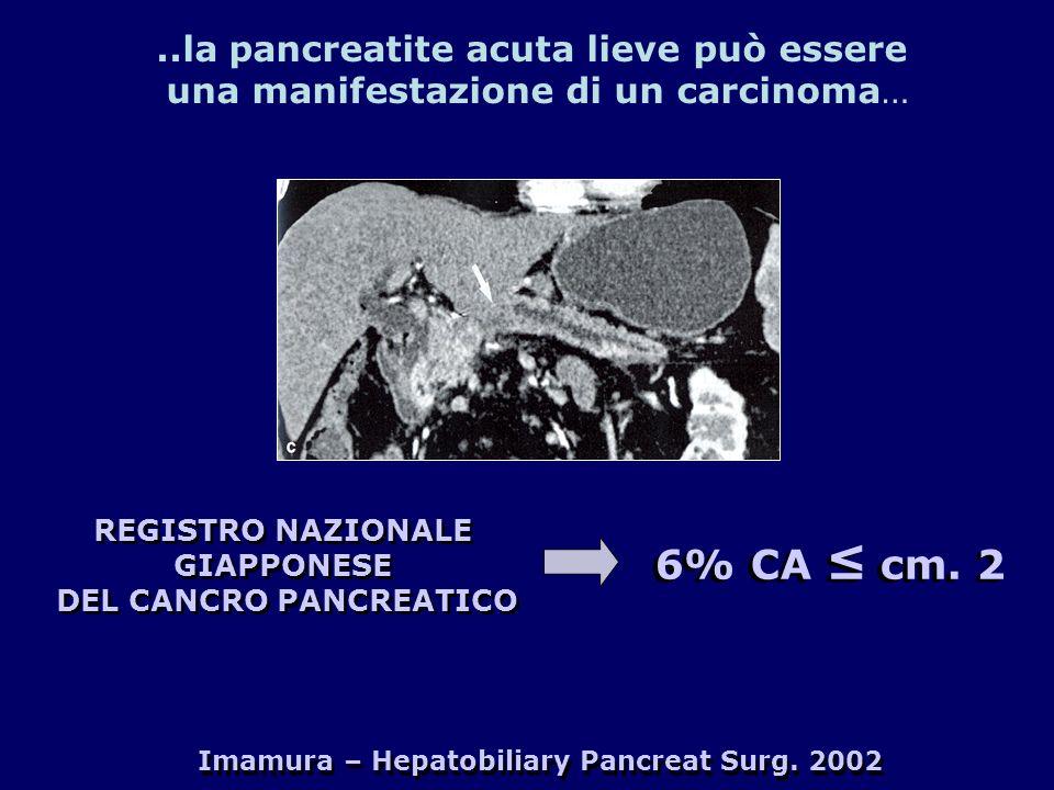 6% CA ≤ cm. 2 ..la pancreatite acuta lieve può essere