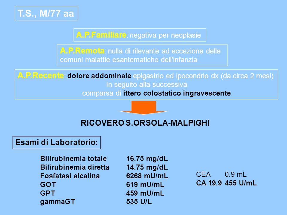 T.S., M/77 aa A.P.Familiare: negativa per neoplasie