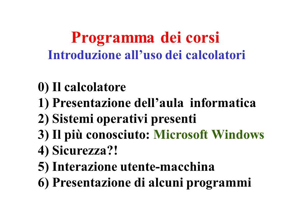 Programma dei corsi Introduzione all'uso dei calcolatori