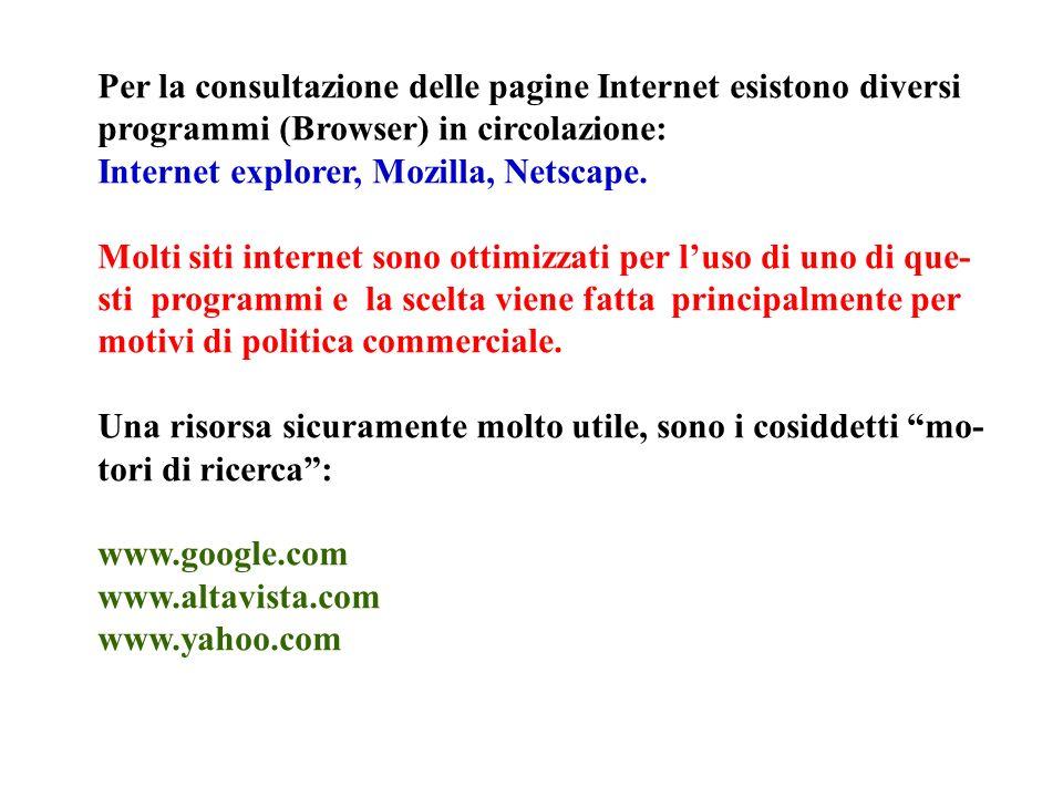Per la consultazione delle pagine Internet esistono diversi