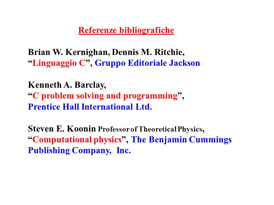Referenze bibliografiche
