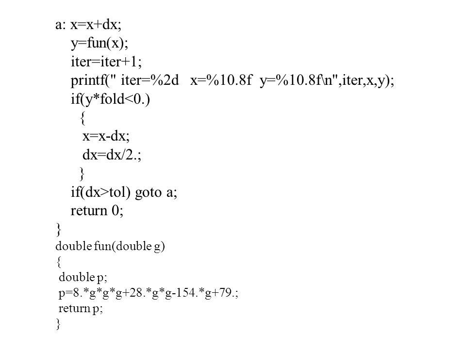 printf( iter=%2d x=%10.8f y=%10.8f\n ,iter,x,y); if(y*fold<0.) {