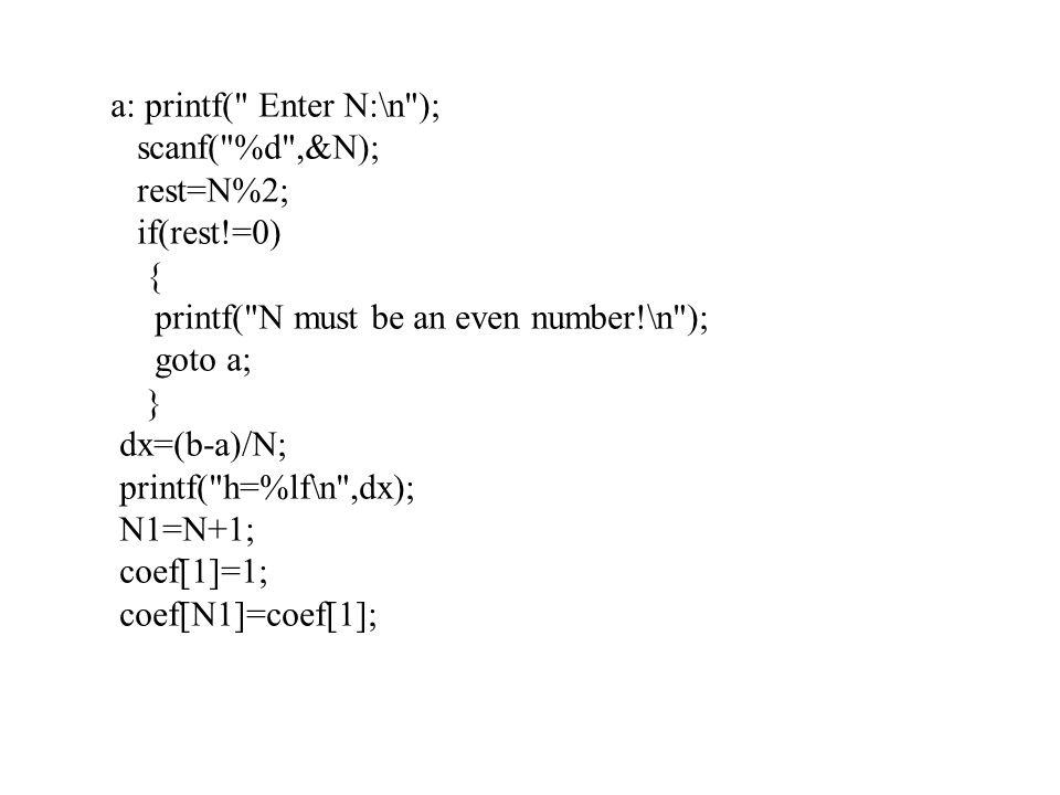 a: printf( Enter N:\n );