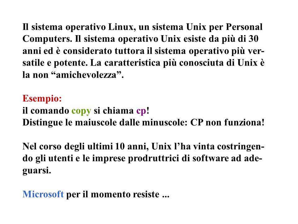 Il sistema operativo Linux, un sistema Unix per Personal