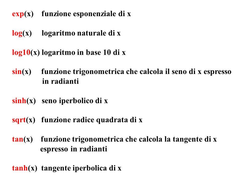 exp(x) funzione esponenziale di x