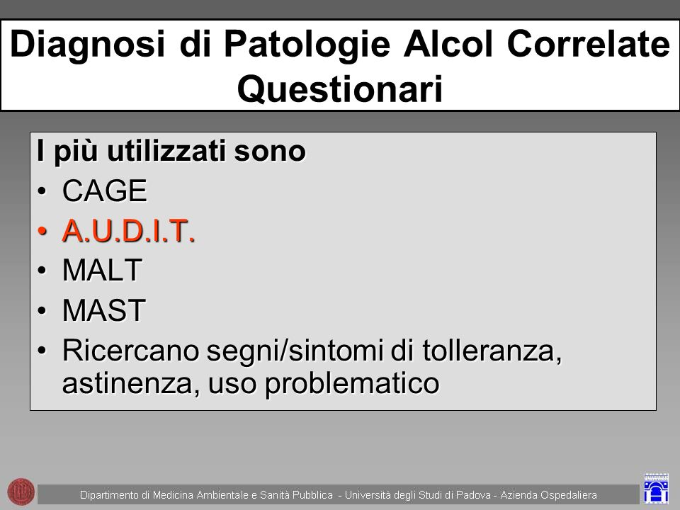 Diagnosi di Patologie Alcol Correlate Questionari