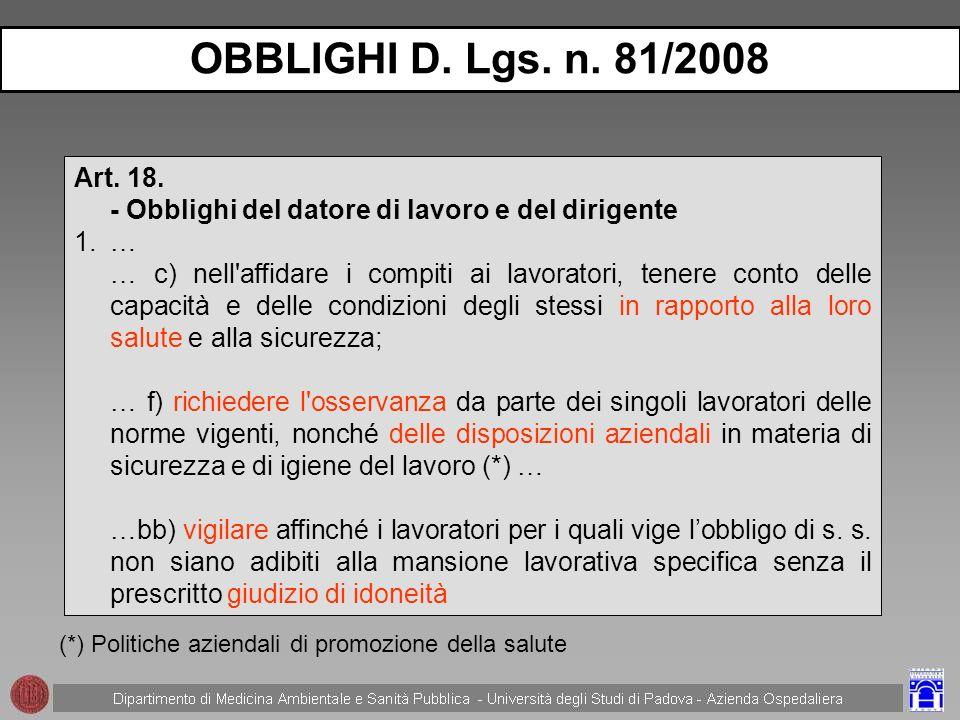 OBBLIGHI D. Lgs. n. 81/2008 Art. 18. - Obblighi del datore di lavoro e del dirigente. …