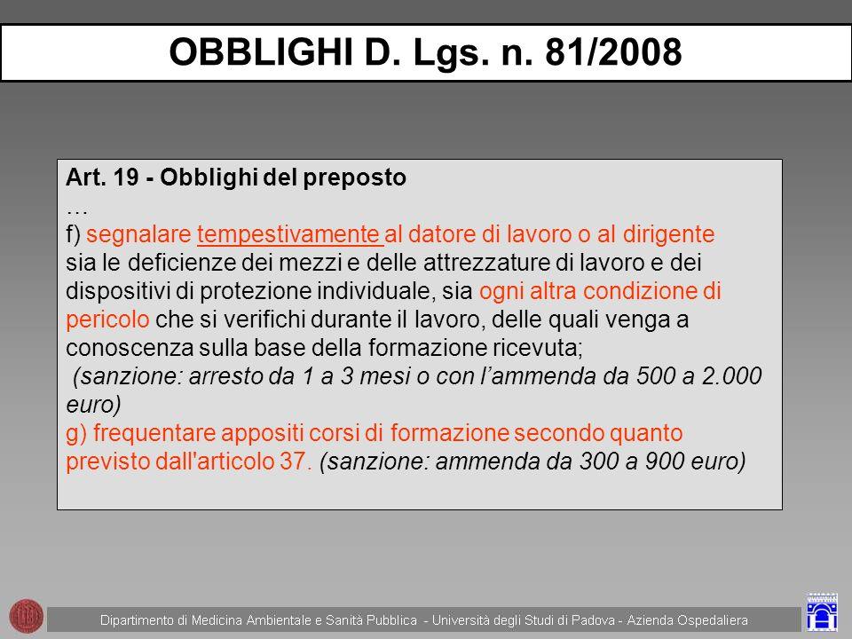OBBLIGHI D. Lgs. n. 81/2008 Art. 19 - Obblighi del preposto …
