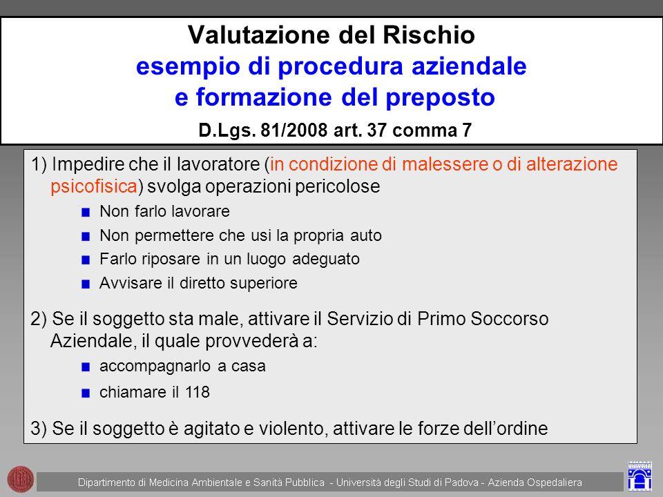 Valutazione del Rischio esempio di procedura aziendale e formazione del preposto D.Lgs. 81/2008 art. 37 comma 7