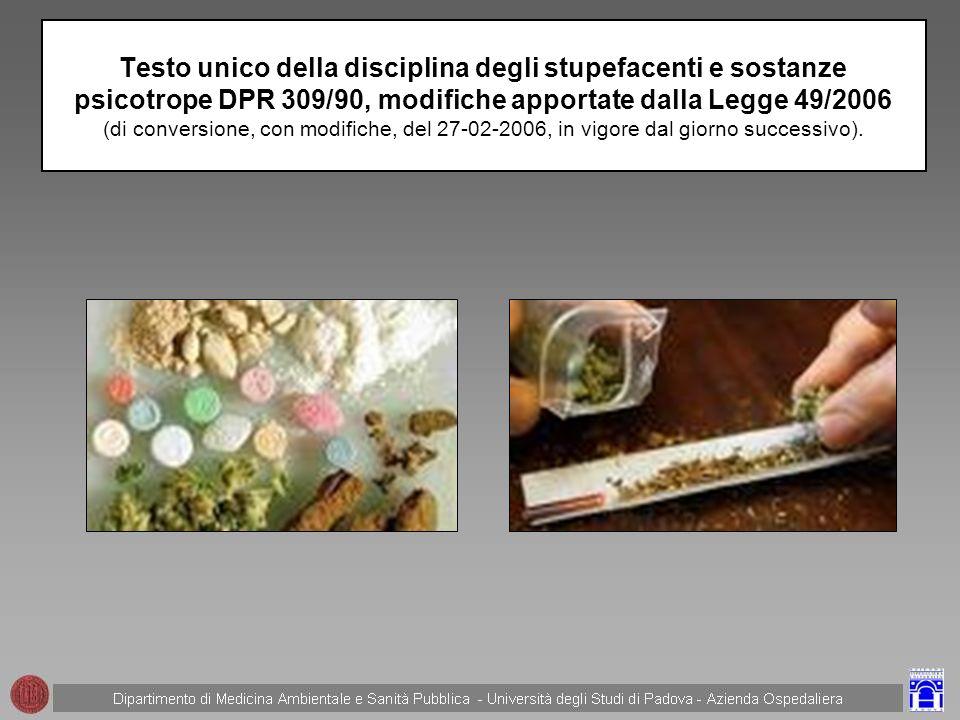 Testo unico della disciplina degli stupefacenti e sostanze psicotrope DPR 309/90, modifiche apportate dalla Legge 49/2006 (di conversione, con modifiche, del 27-02-2006, in vigore dal giorno successivo).