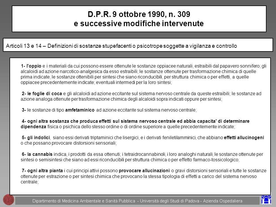 D.P.R. 9 ottobre 1990, n. 309 e successive modifiche intervenute