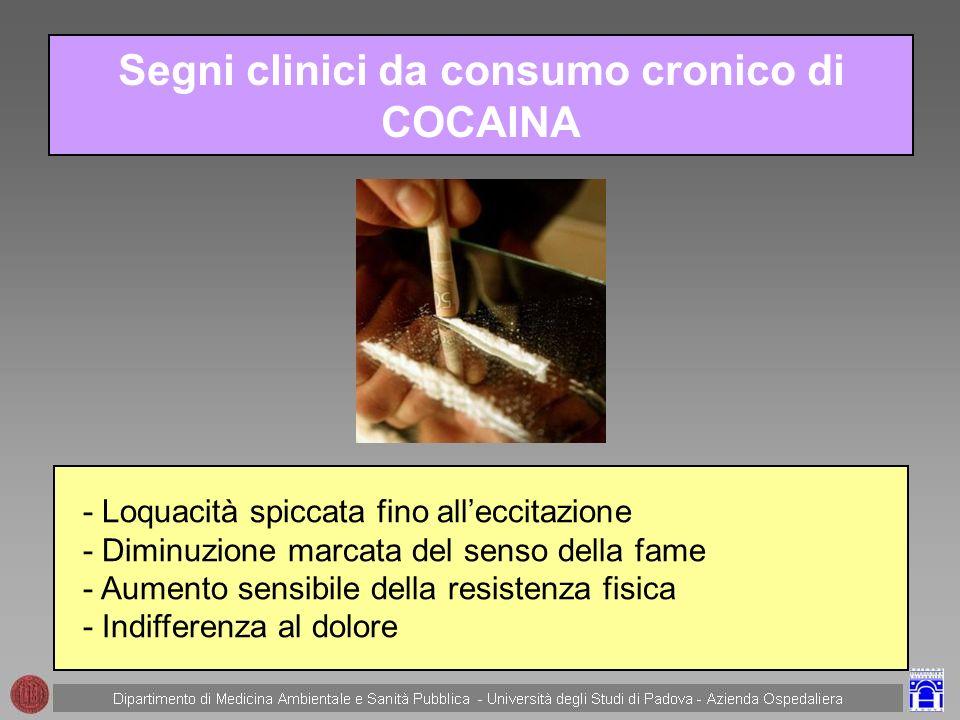Segni clinici da consumo cronico di COCAINA